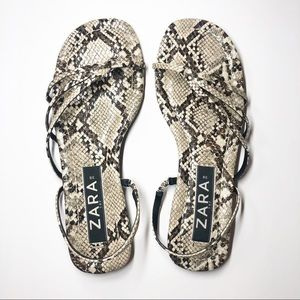 Zara Flat Snakeskin Strappy Sandals